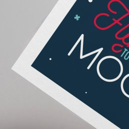 Fly me to the moon space theme postcard