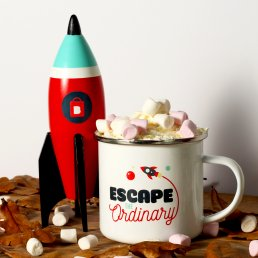 Space Themed Enamel Mug with the slogan 'escape the ordinary'